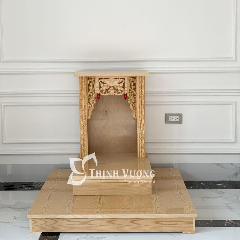 bàn thờ thần tài mái bằng gỗ PơMu Kèm kệ Gỗ