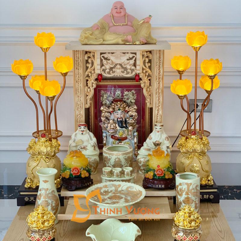 bàn thờ thần tài mái bằng gỗ Pơ Mu Kèm kệ Gỗ