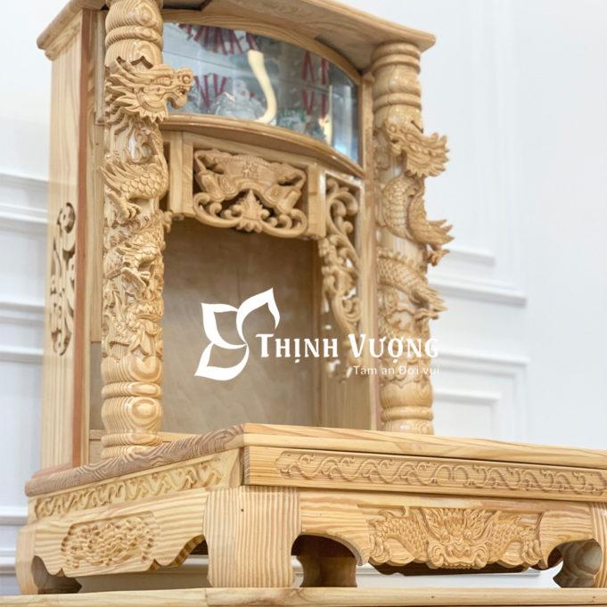Mẫu bàn thờ thần tài thổ địa gỗ pơ mu cột rồng