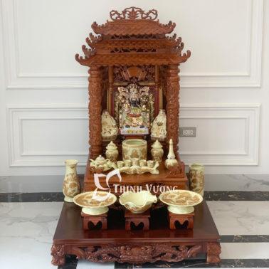 Bàn thờ thần tài ba tầng mái gỗ hương đẹp