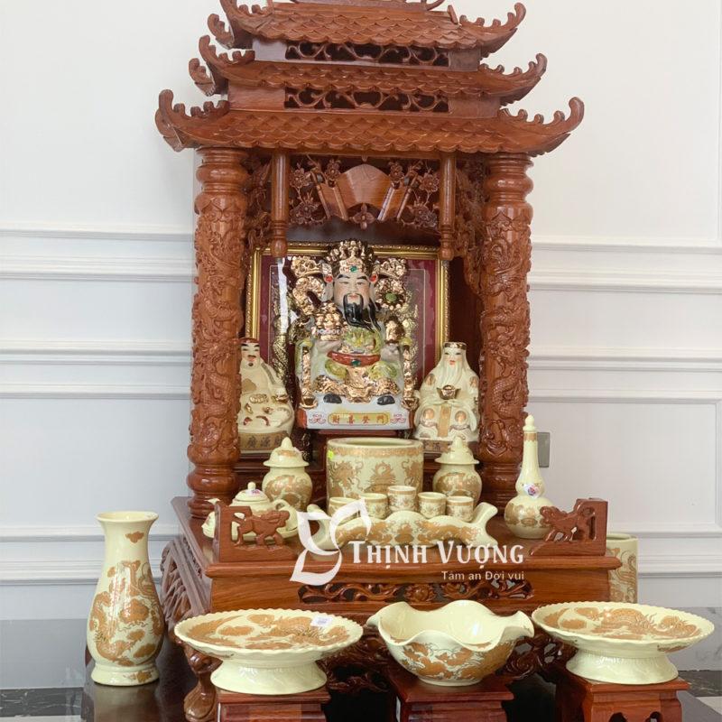 Thiết kế sản phẩm bàn thờ thần tài gỗ hương cột to sứ Ngà