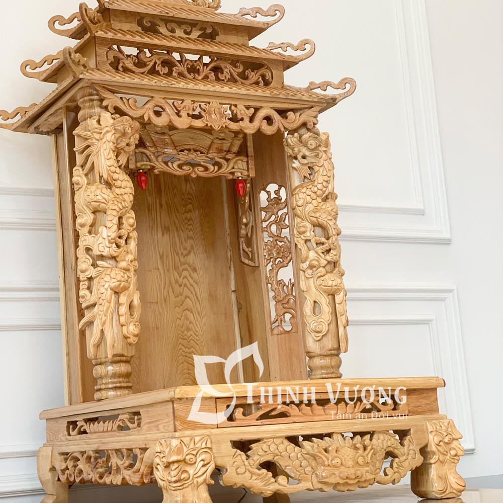 Bàn thờ thần tài ba tầng mái gỗ pơmu đẹp