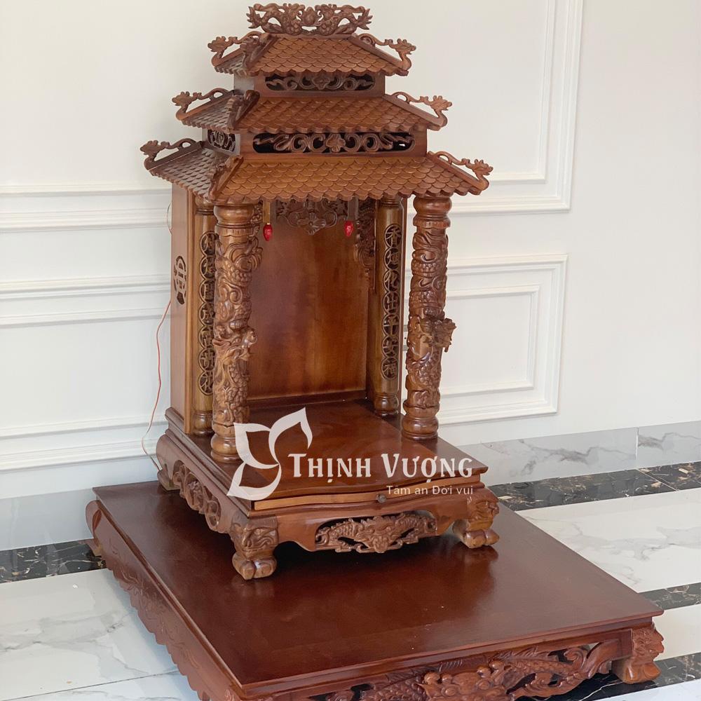 Bàn thờ thần tài mái chùa gỗ gụ hàng dày