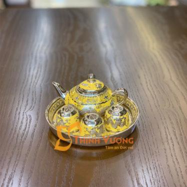 Bộ ấm chén để bàn thờ sứ kim sa