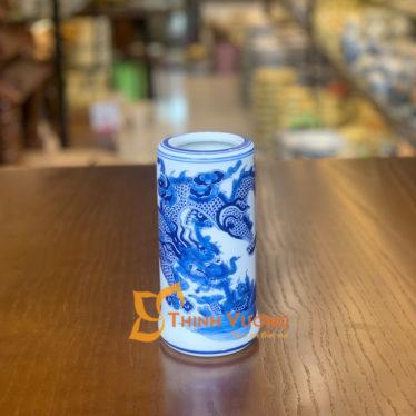 Ống đựng hương bằng sứ men lam xanh tại Hà Nội