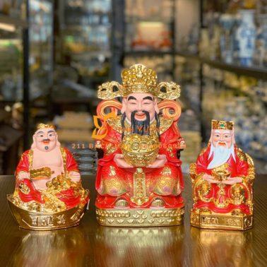 Bộ 3 tượng ông thần tiền và thần tài thổ địa áo đỏ