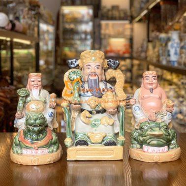 Bộ 3 tượng thần tài thổ địa sứ men rạn