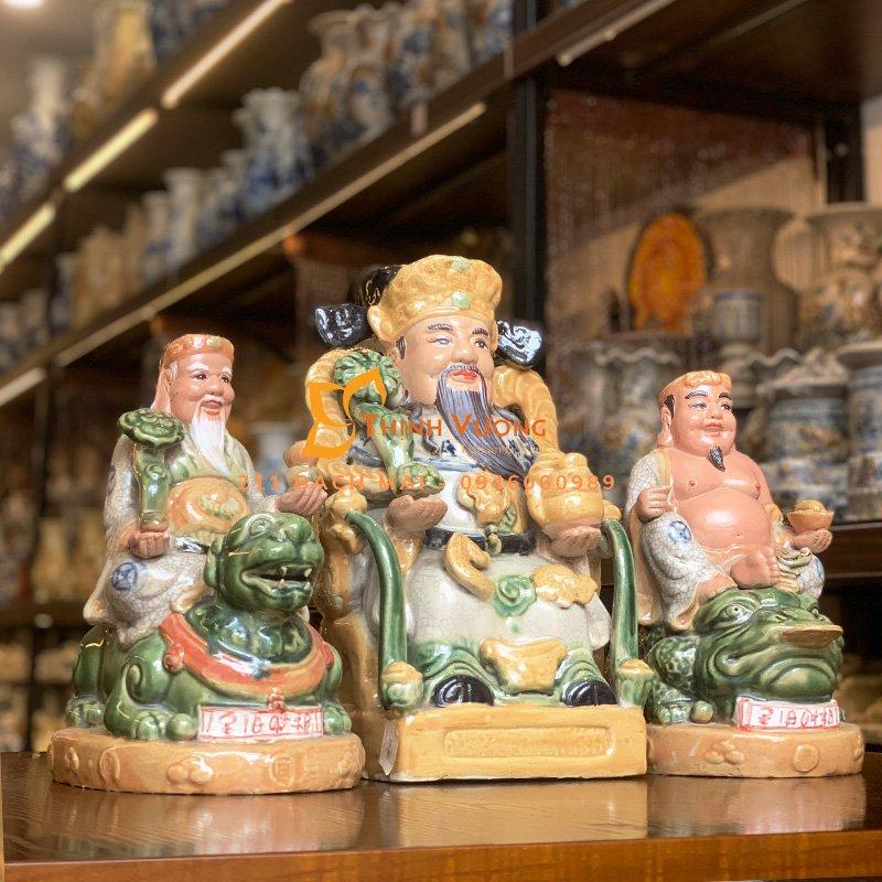 Bộ 3 tượng ông thần tài thổ địa men rạn