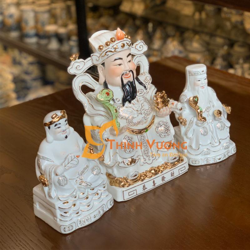 Bộ tượng thần tài thổ địa sứ men trắng đẹp