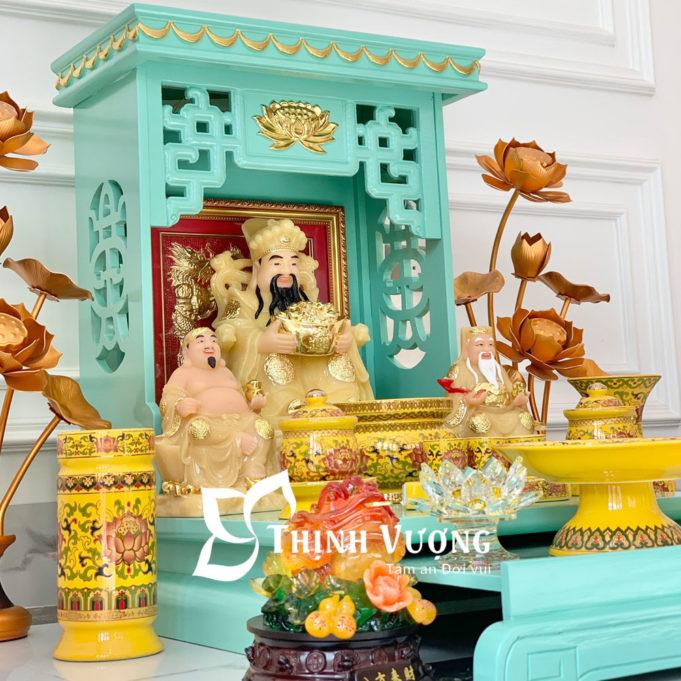 Bàn thờ thần tài xanh ngoc sứ gấm vàng 2