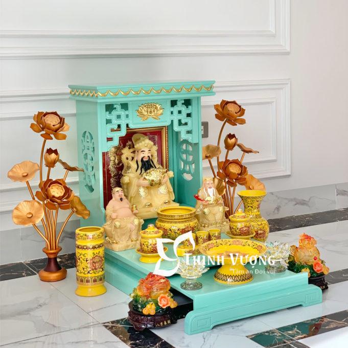 Bàn thờ thần tài xanh ngoc sứ gấm vàng 3
