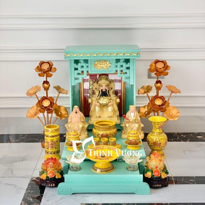 Bàn thờ thần tài xanh ngoc sứ gấm vàng