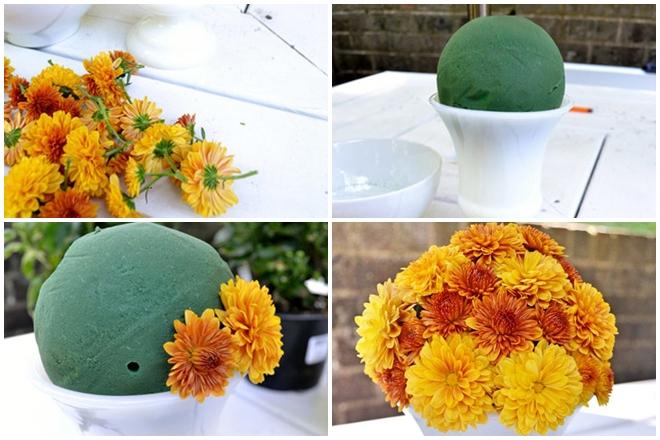 Cách cắm hoa cúc vàng dạng cắt rời bông để bàn thờ