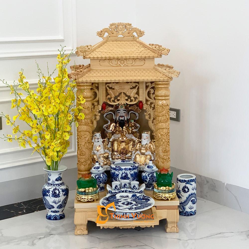 Mẫu bàn thờ thần tài 2 mái đẹp